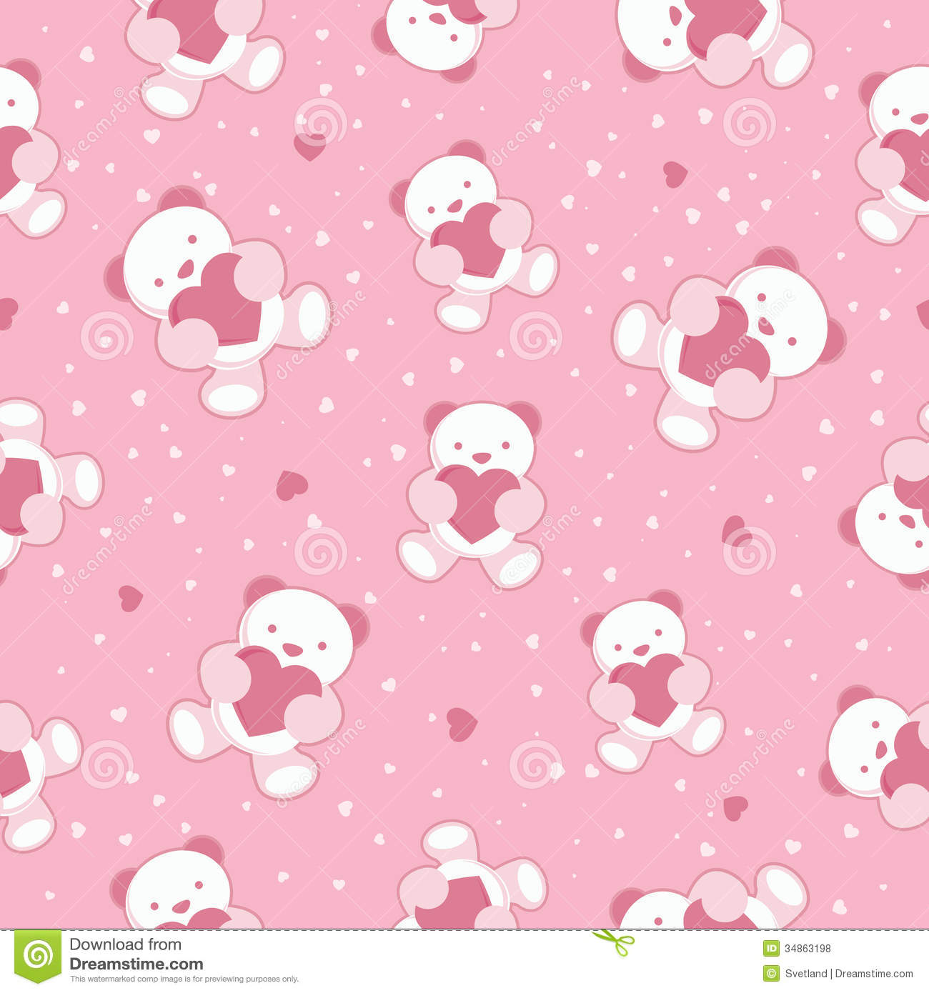 Seamless pink baby background with teddy bear and stock - Papel decorativo infantil ...