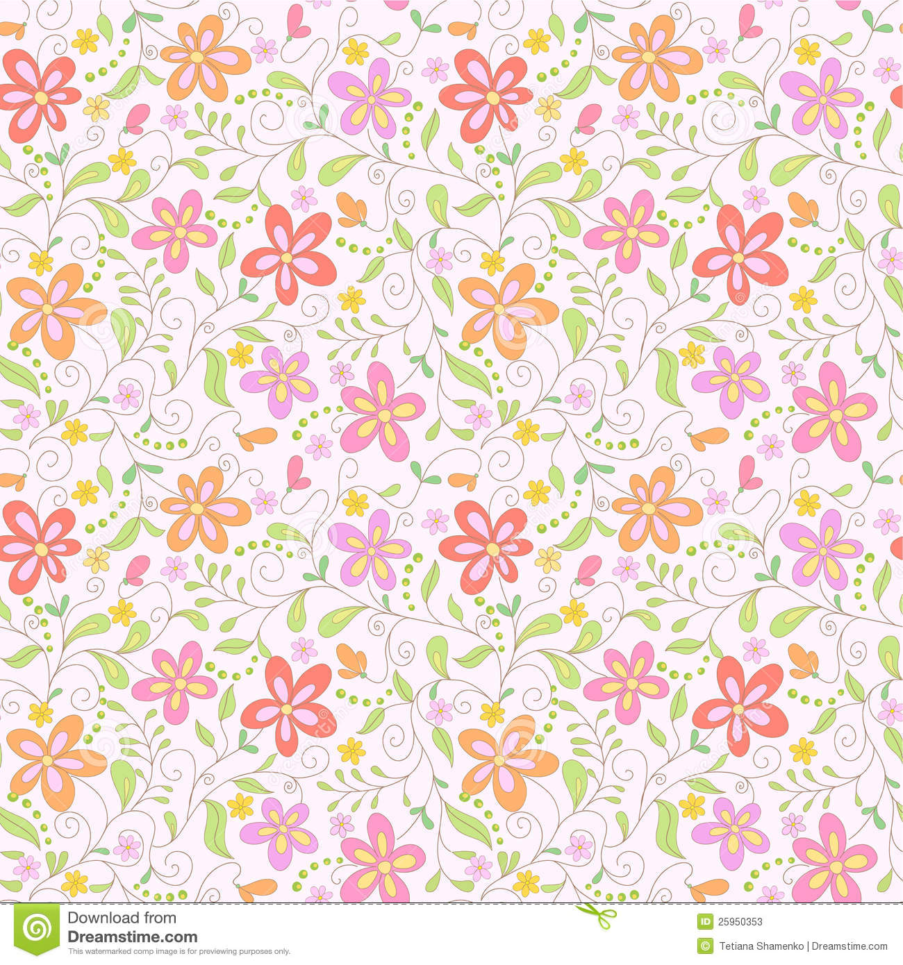 Seamless Pink Floral Background Stock Photos - Image: 25950353