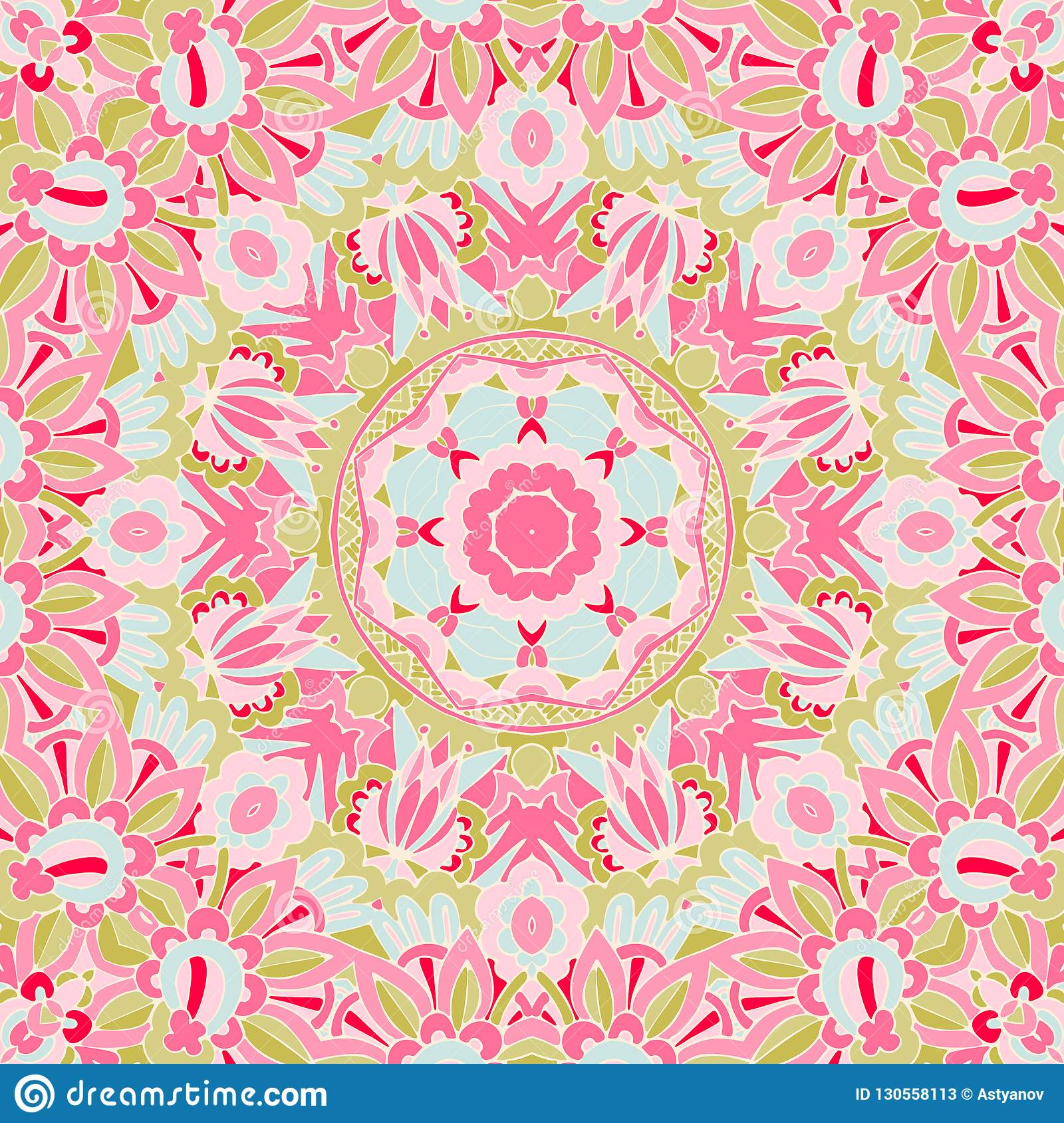 Seamless Pink Floral Background With Abstract Fantasy Flowers