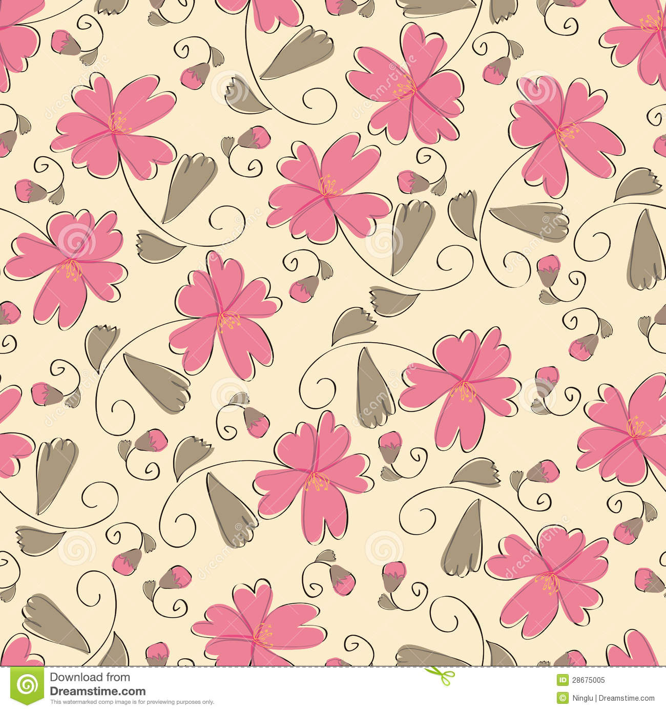 Seamless pink floral pattern - photo#10