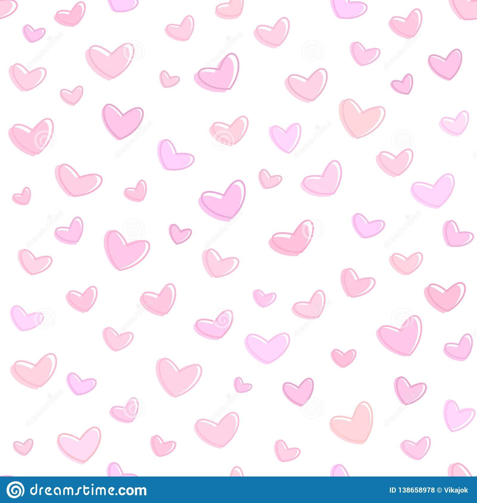 Seamless pink hearts pattern, pink background for saint valentines day, vector wallpaper