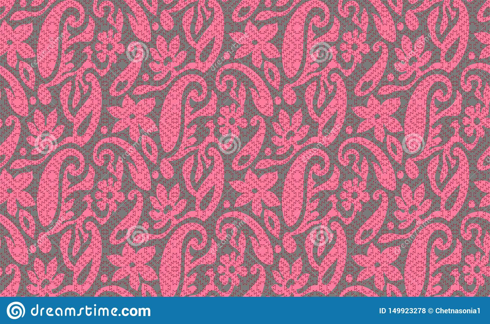 Seamless pink paisley with texture grey background