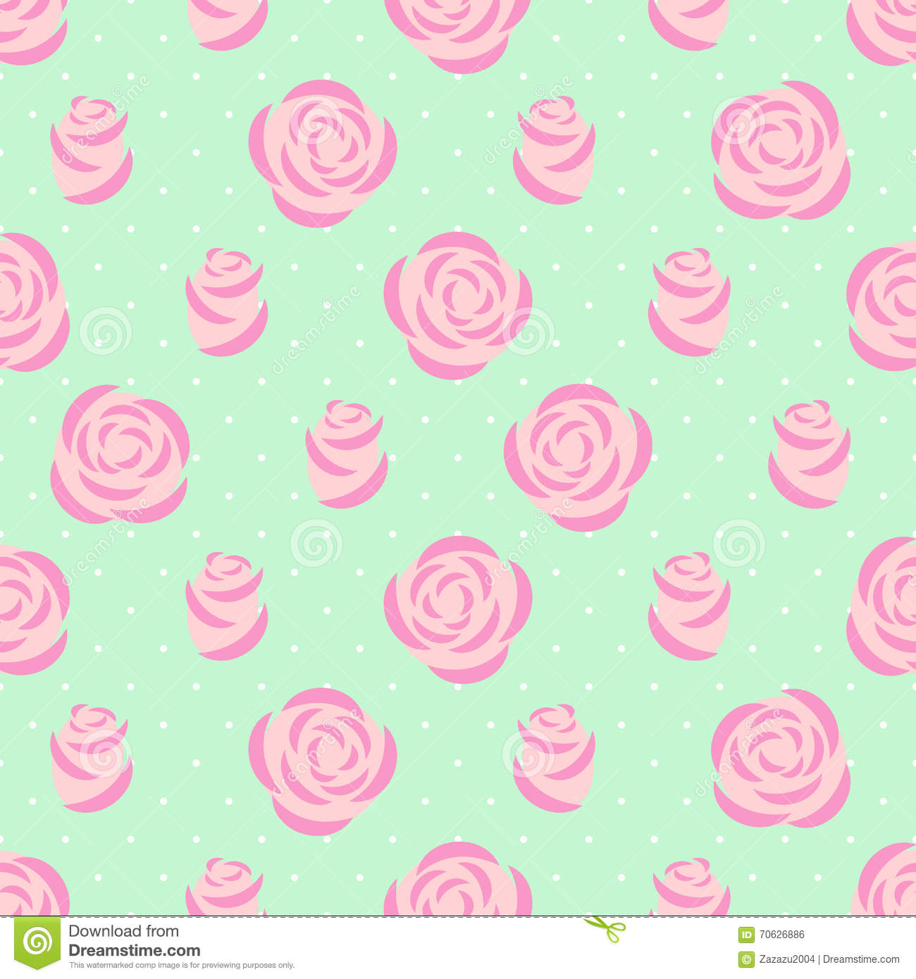 Seamless pink roses pattern on mint green background for Fabric mural designs