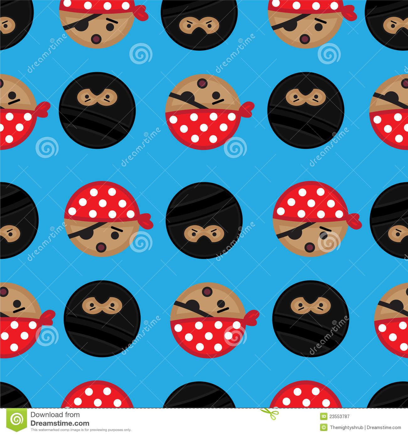 seamless pirate and ninja background tile stock illustration