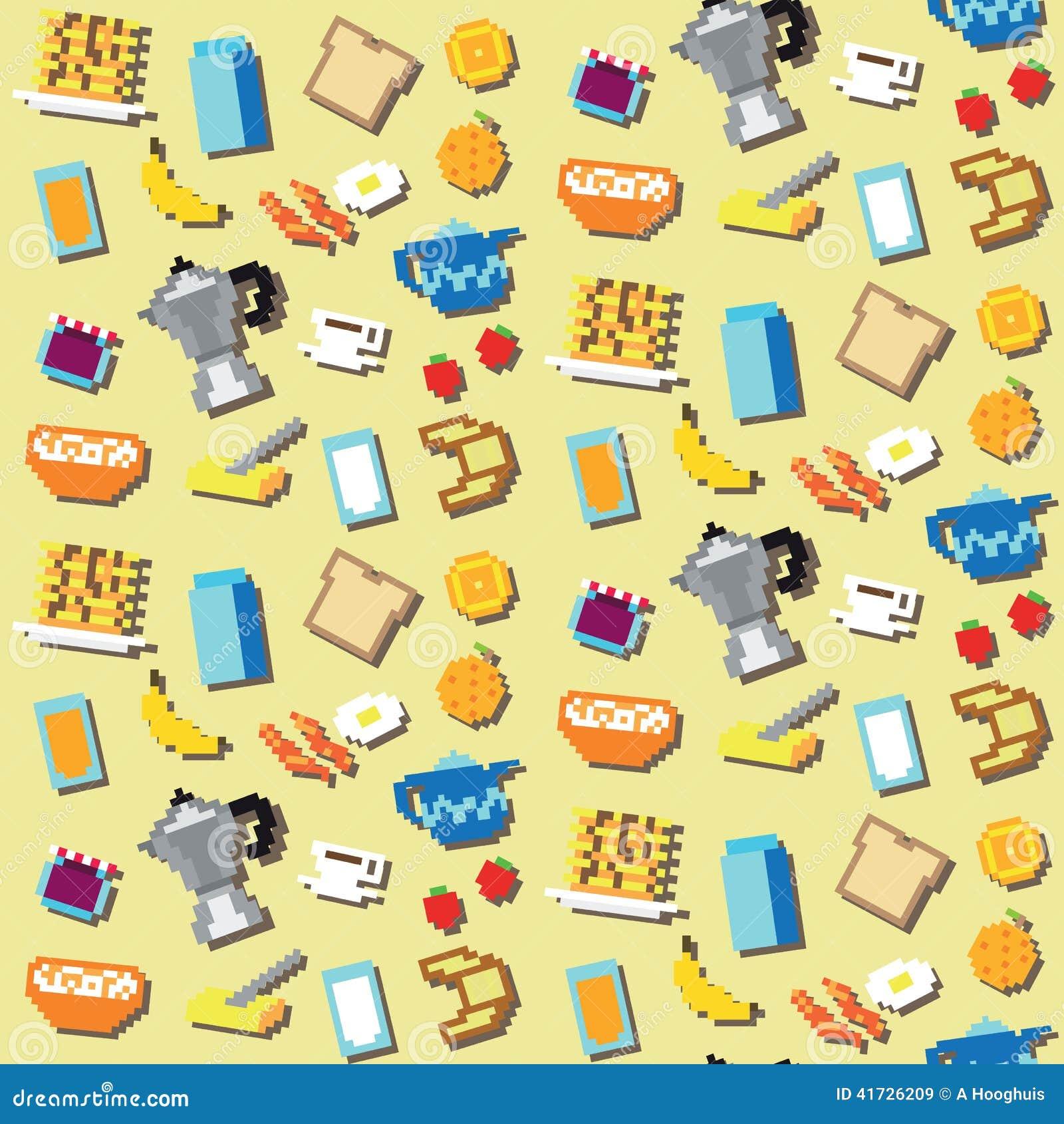 Seamless Pixel Breakfast Pattern Stock Vector Illustration