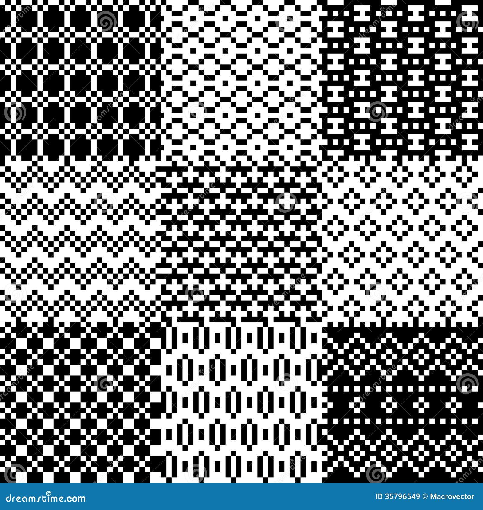 Seamless pixel patterns set royalty free stock images image