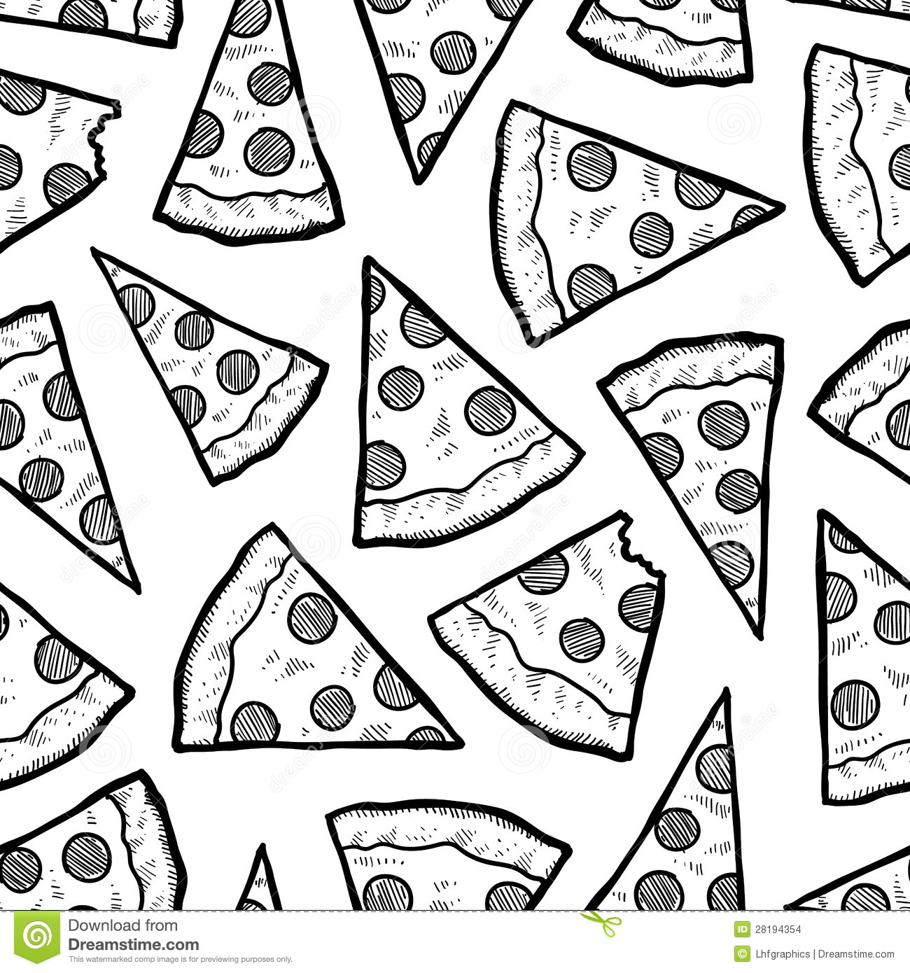 Seamless Pizza Slice Vector Background Stock Vector