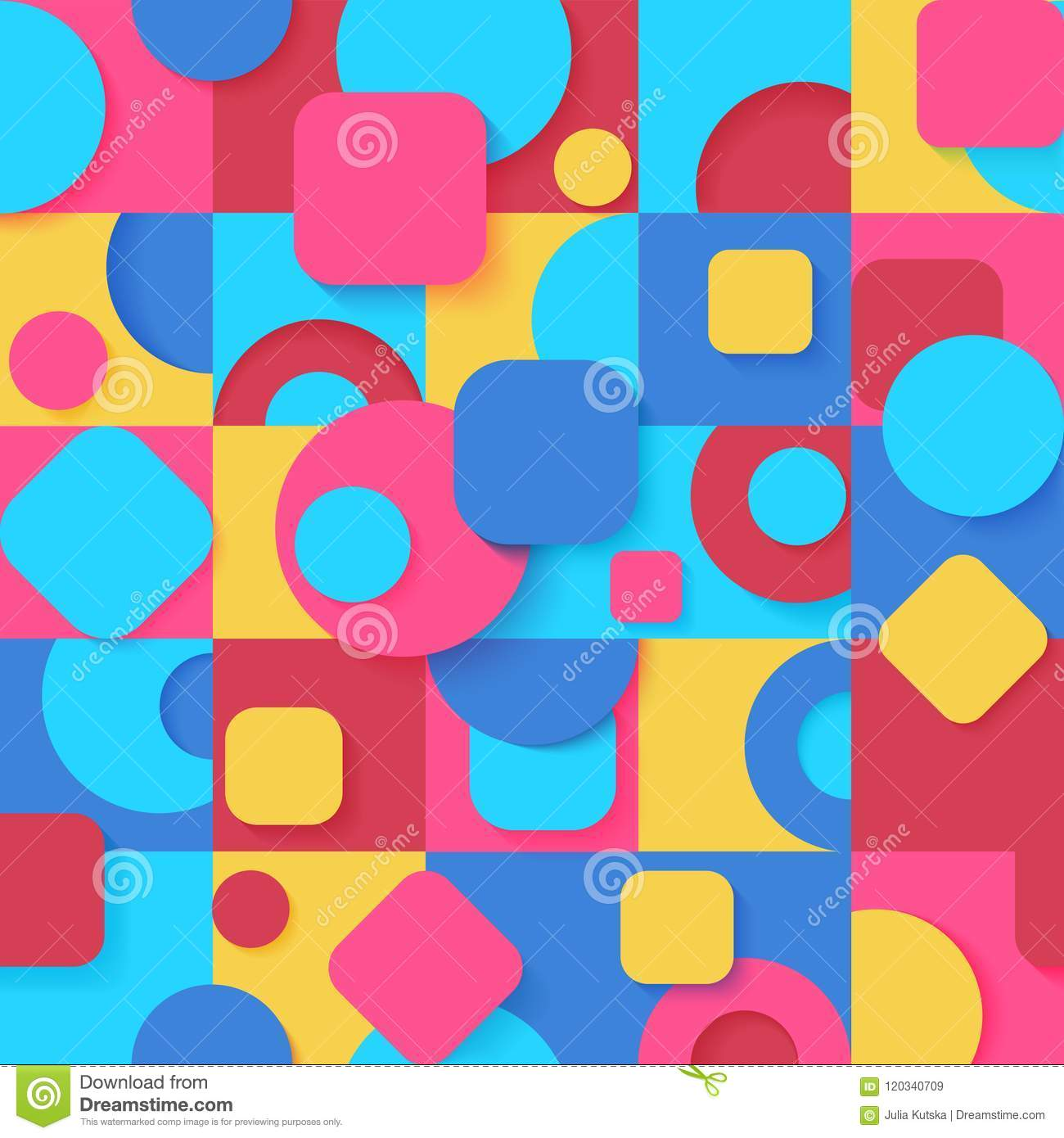 Seamless Pop Art Colorful Abstract Geometric Shapes Pattern Bright