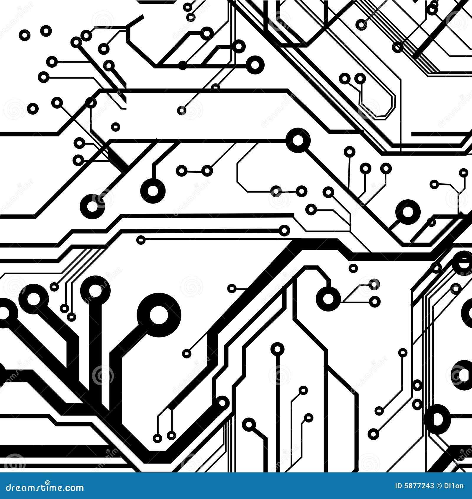 seamless printed circuit board stock vector