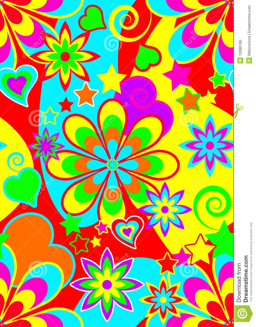 Seamless Psychedelic Hippie Pattern Stock Illustration