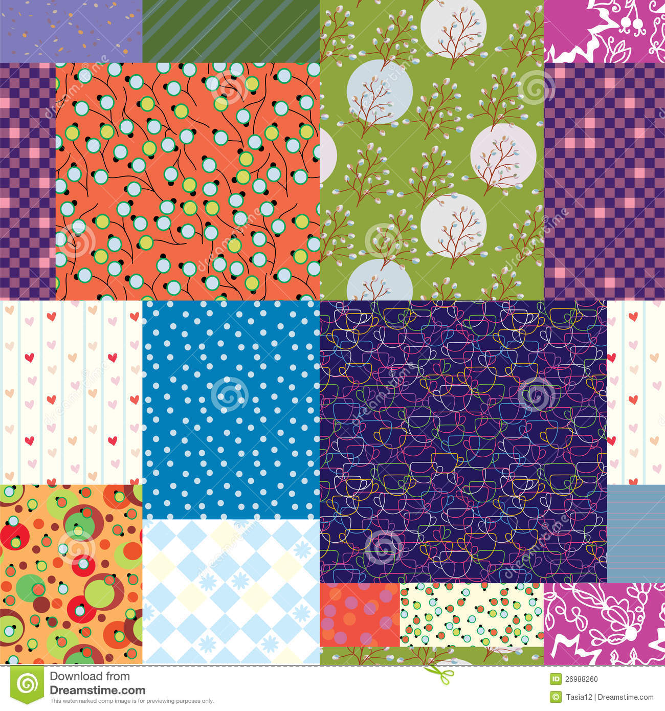 Quilt Patterns With Floral Fabric : Seamless Quilt Pattern - Floral Fabrics Stock Photo - Image: 26988260