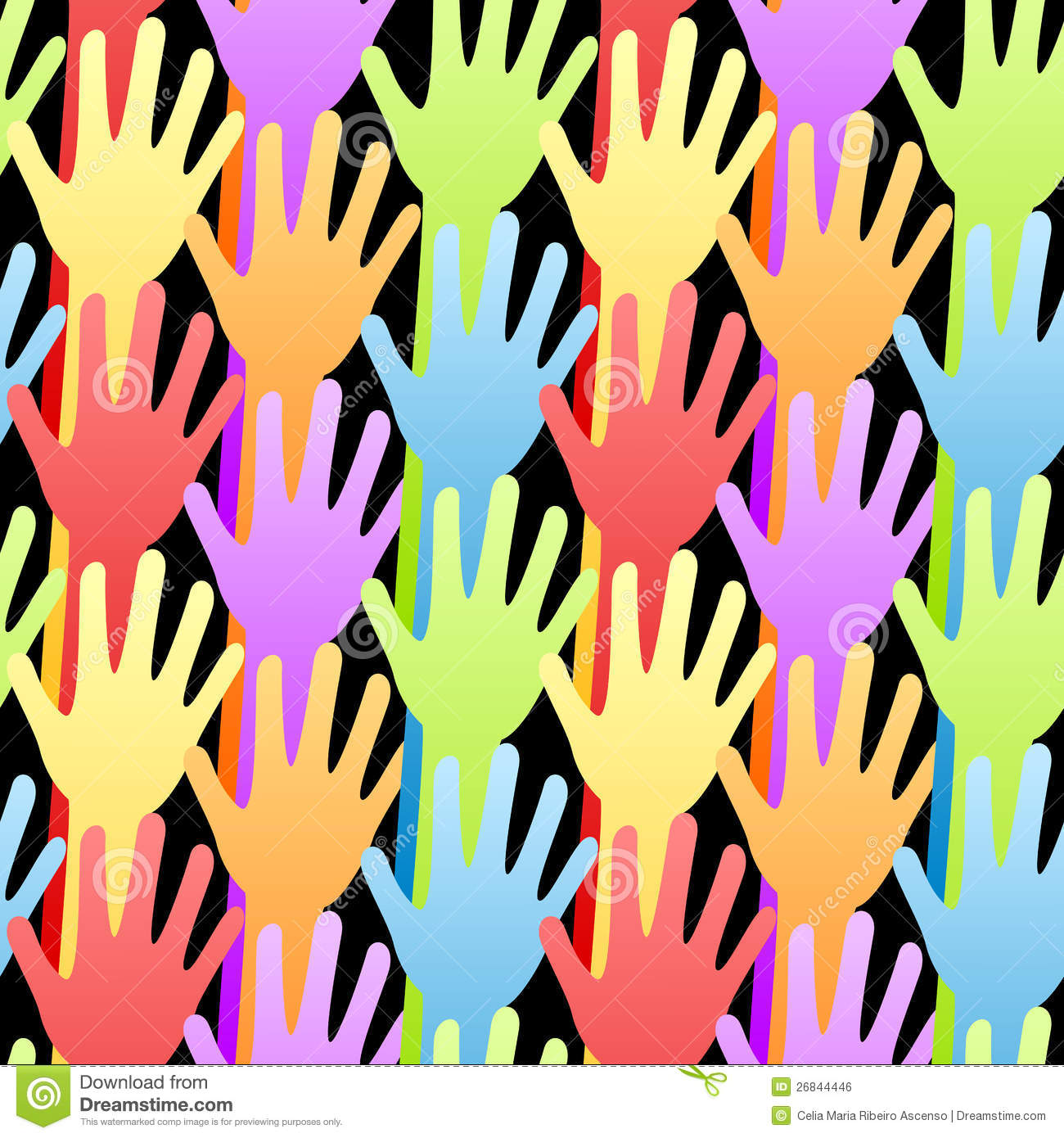 Seamless Rainbow Volunteering Hands Background Stock ...