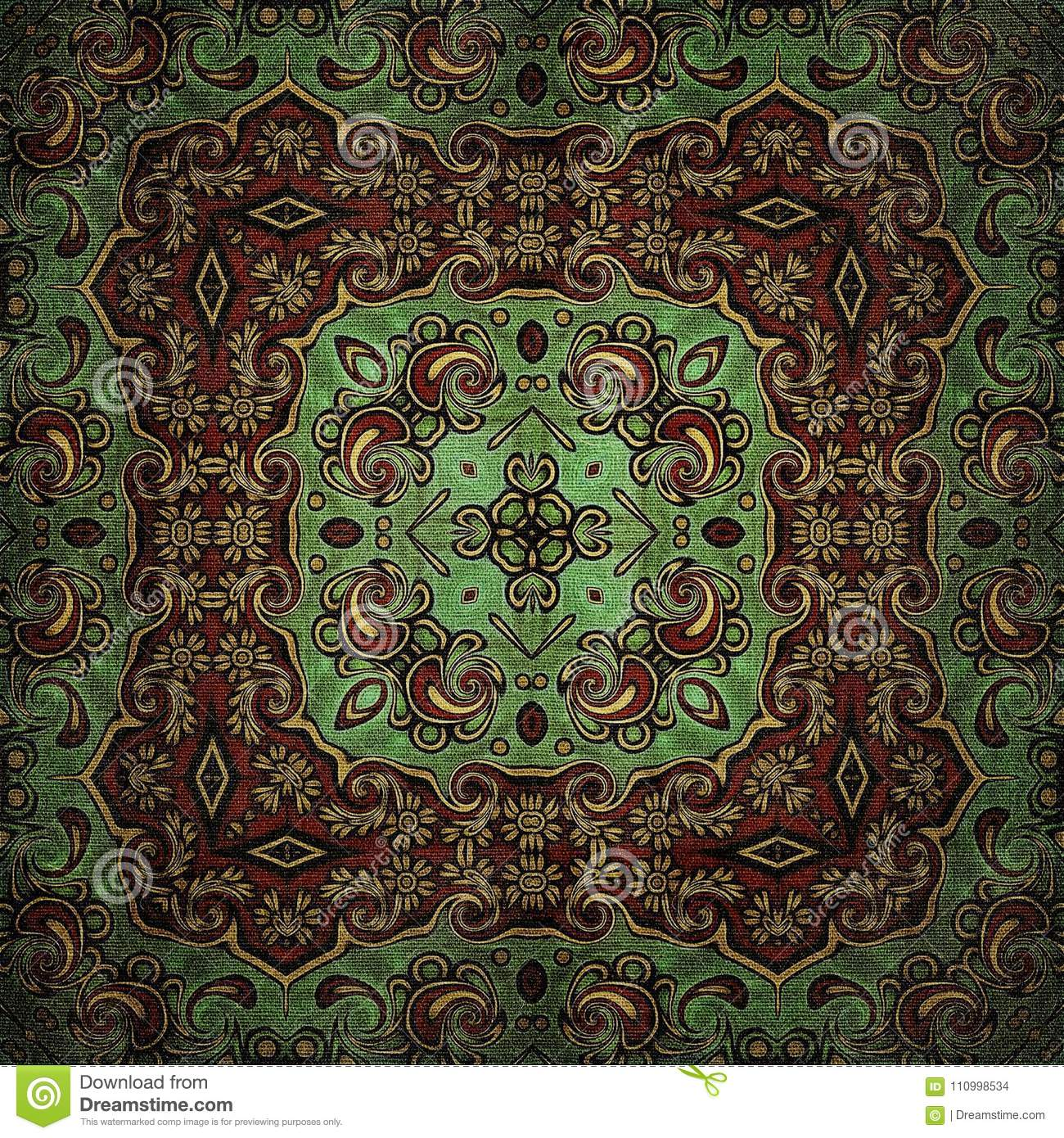 Seamless raster pattern in oriental style Flower psychedelic mosaic Pattern for wallpaper, backgrounds, decor for tapestries, carp