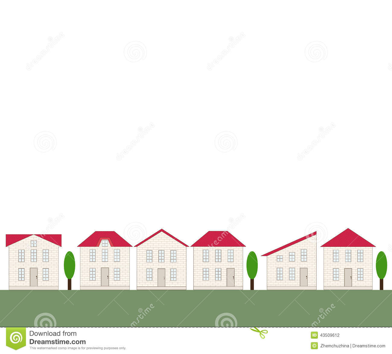 Seamless Real Estate Border Stock Vector Image 43509612