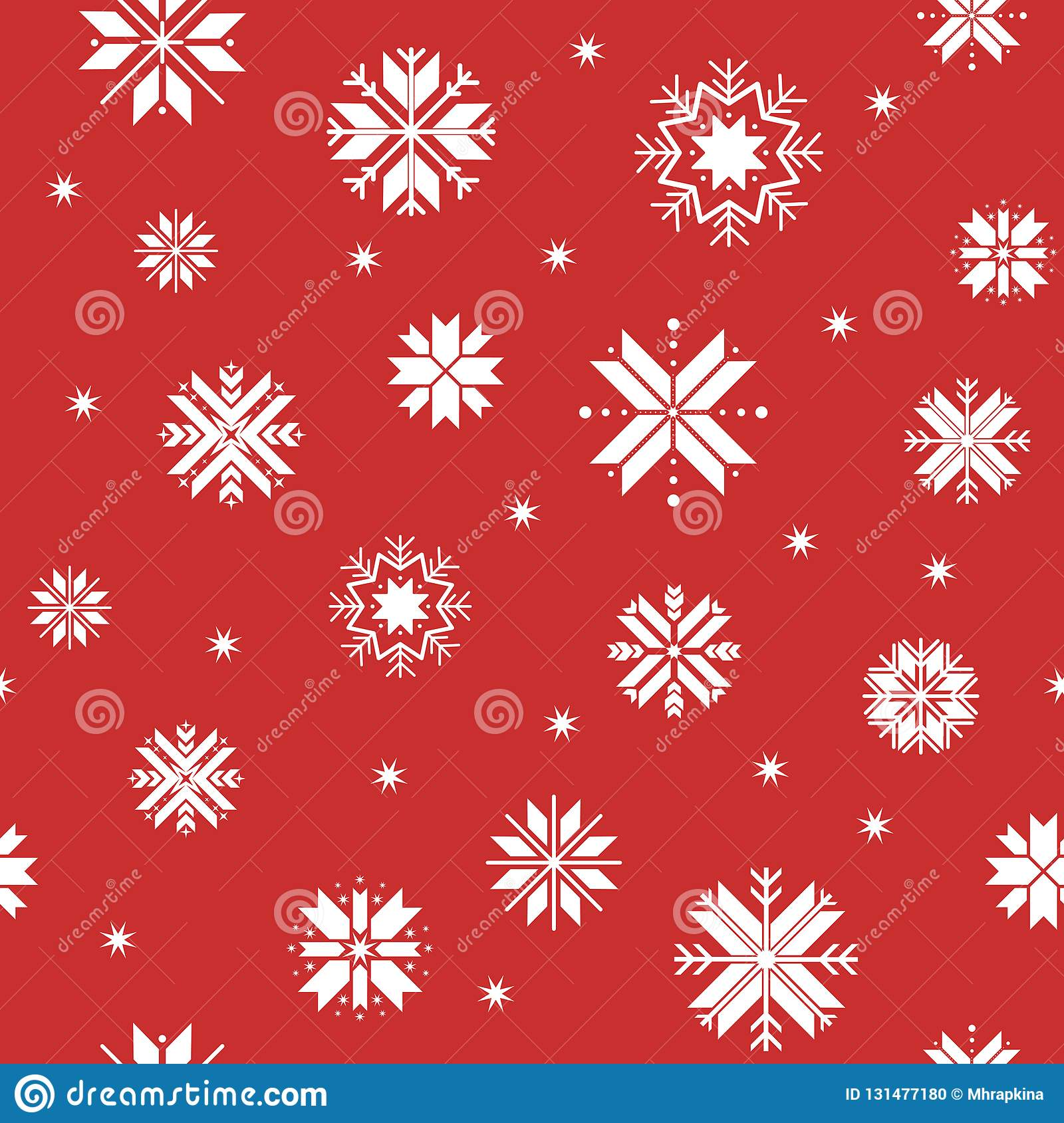 c2a6004b487c Seamless christmas pattern with snowflakes. traditional sweater pattern  with white geometric snowflakes on red background
