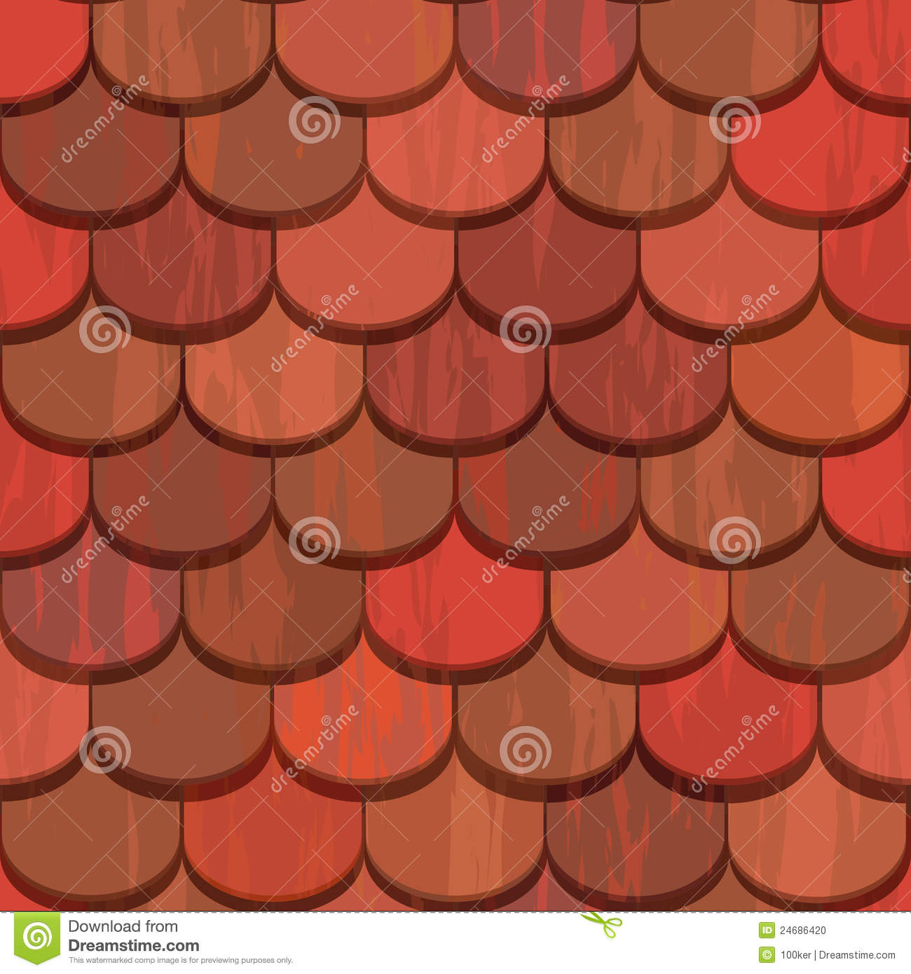 Seamless Red Clay Roof Tiles Stock Vector Image 24686420