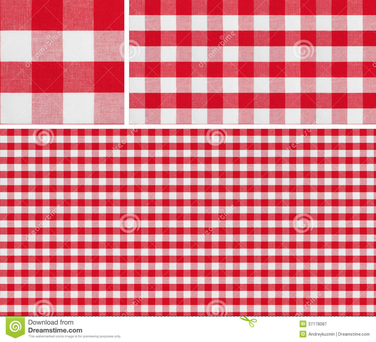 Seamless Red Picnic Tablecloth Checked Pattern And Result