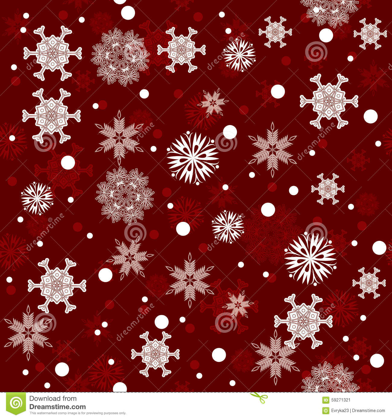 seamless red winter snowflakes pattern background stock vector