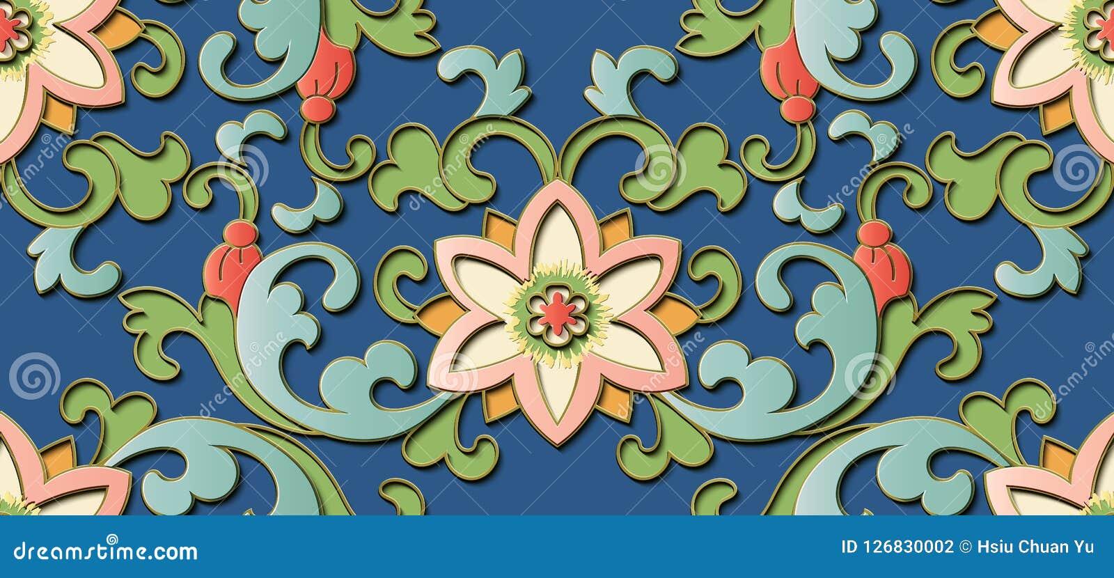 Seamless relief sculpture decoration retro pattern Chinese botanic garden flower leaf spiral cross vine