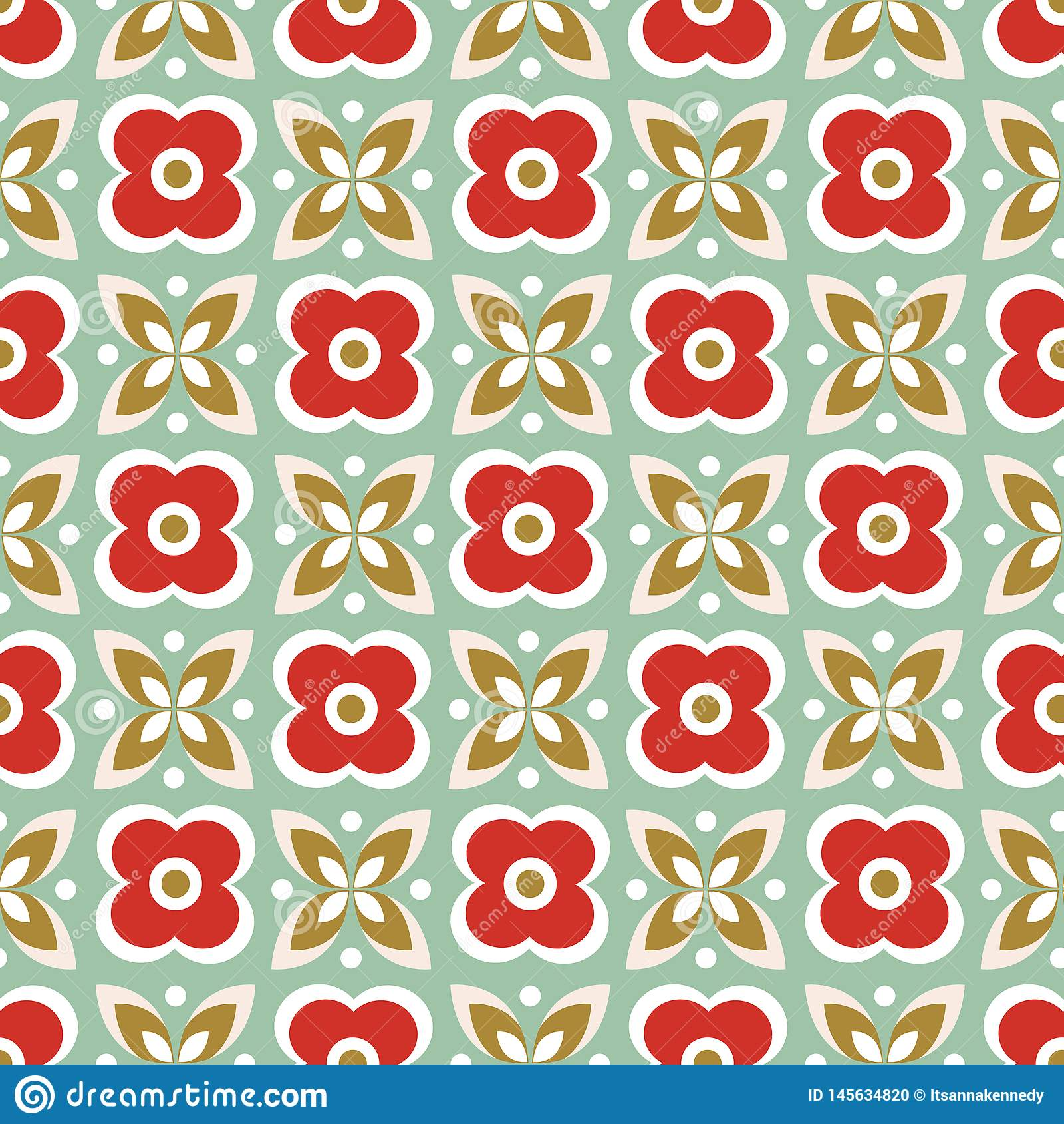 Seamless repeat pattern of stylized red flowers and green leaves in a geometric design. Vector background ideal for