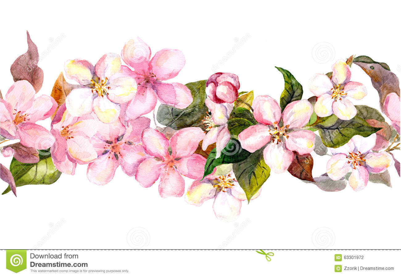 Seamless repeated floral border - pink cherry sakura and apple flowers ...