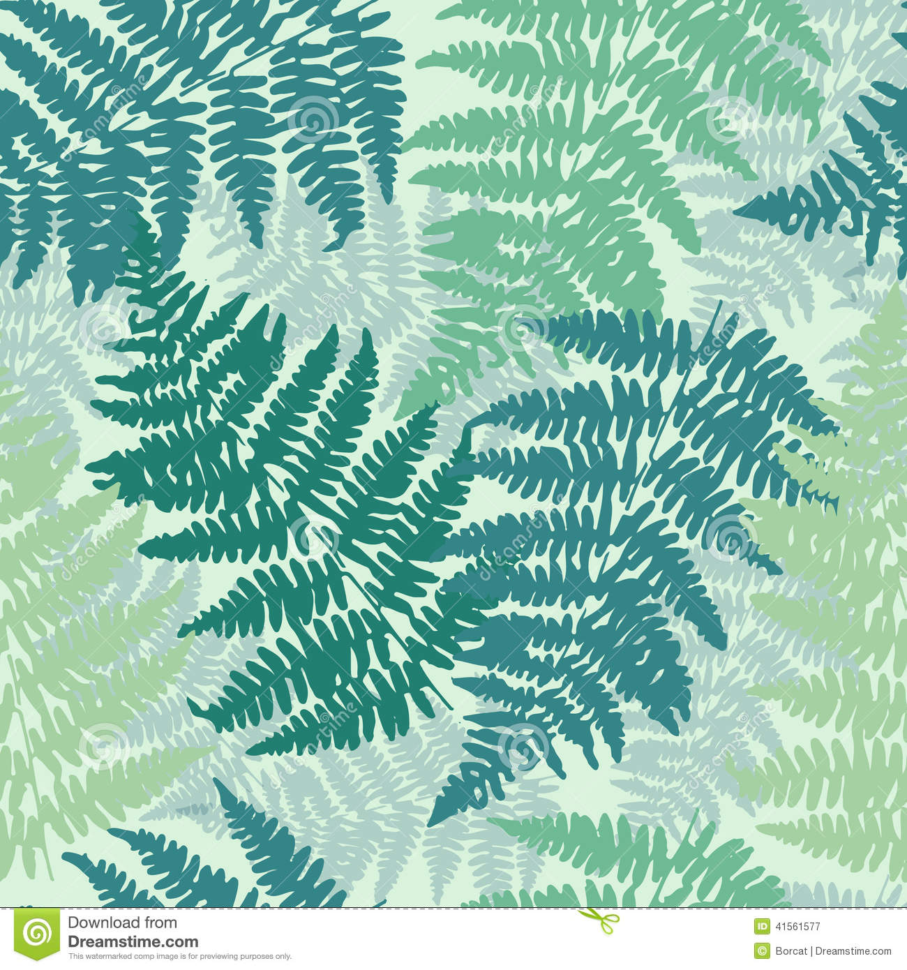 Seamless, Repeating Fern Pattern Background Stock
