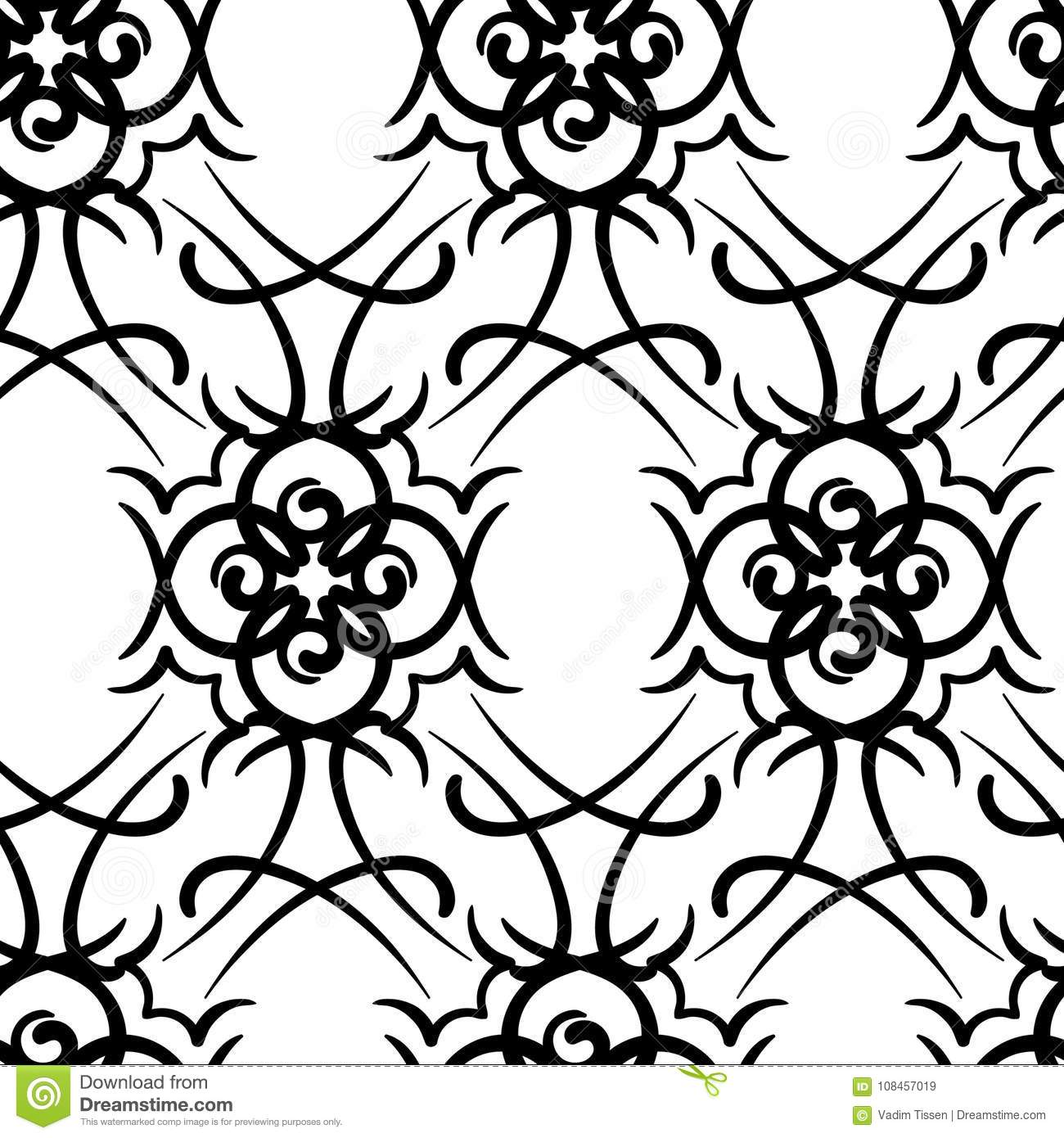 Seamless Repeating Modern Tribal Tattoo Background Design Stock