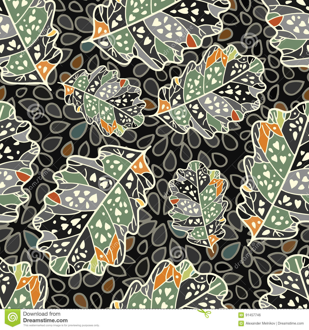 Aninimal Book: Seamless Repeating Pattern Of Leaves Stock Vector ...