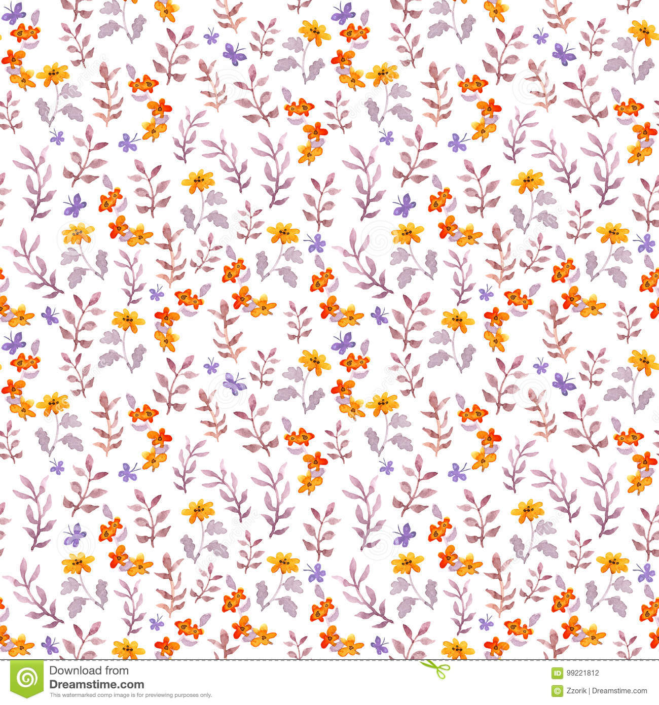 Seamless retro decorative floral swatch. Cute flowers, leaves and retro butterflies. Aquarelle