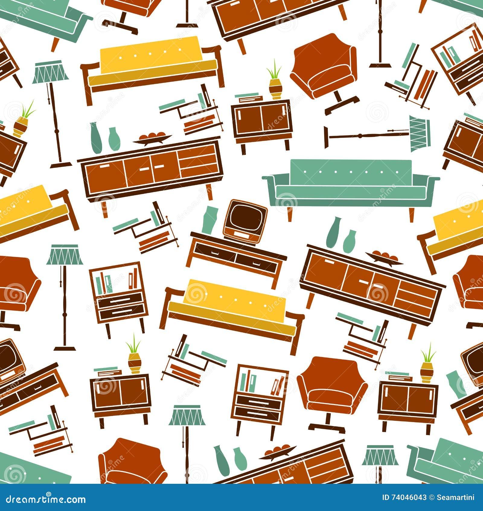 seamless retro home furniture pattern background stock