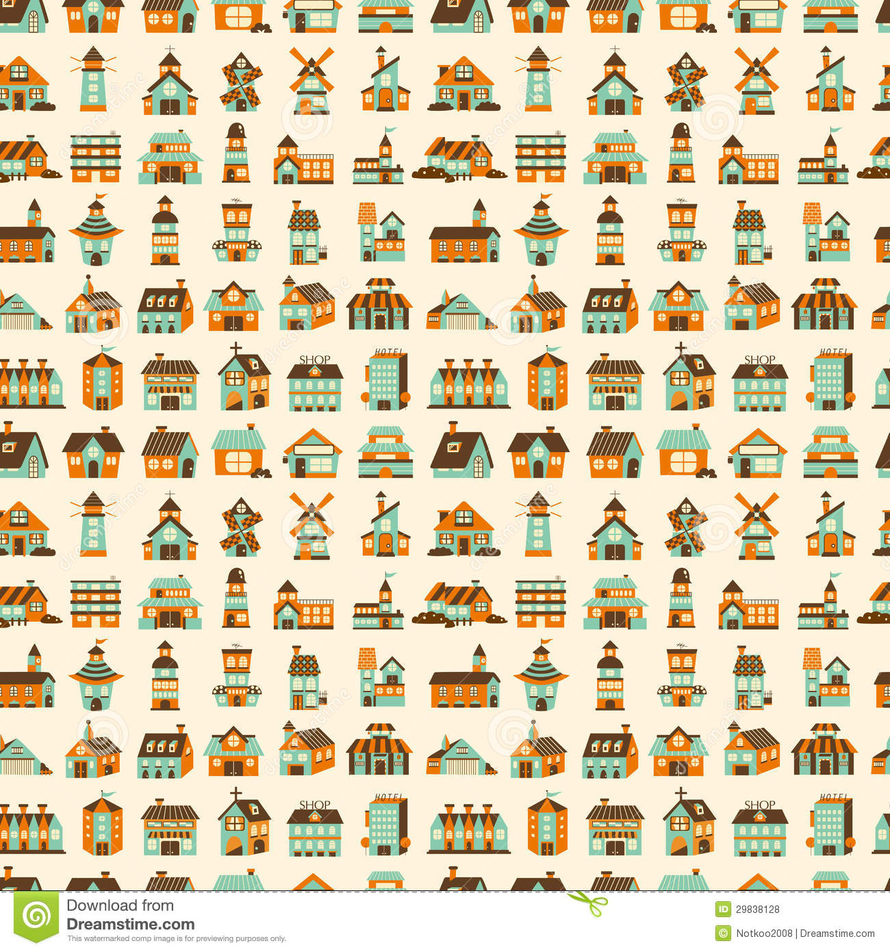 Seamless Retro House Pattern Stock Vector Image 29838128