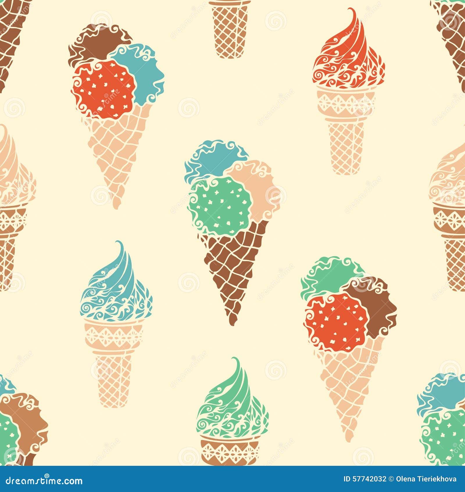 Seamless Ice Cream Background Vintage Style: Seamless Retro Ice-cream Pattern. Stock Vector
