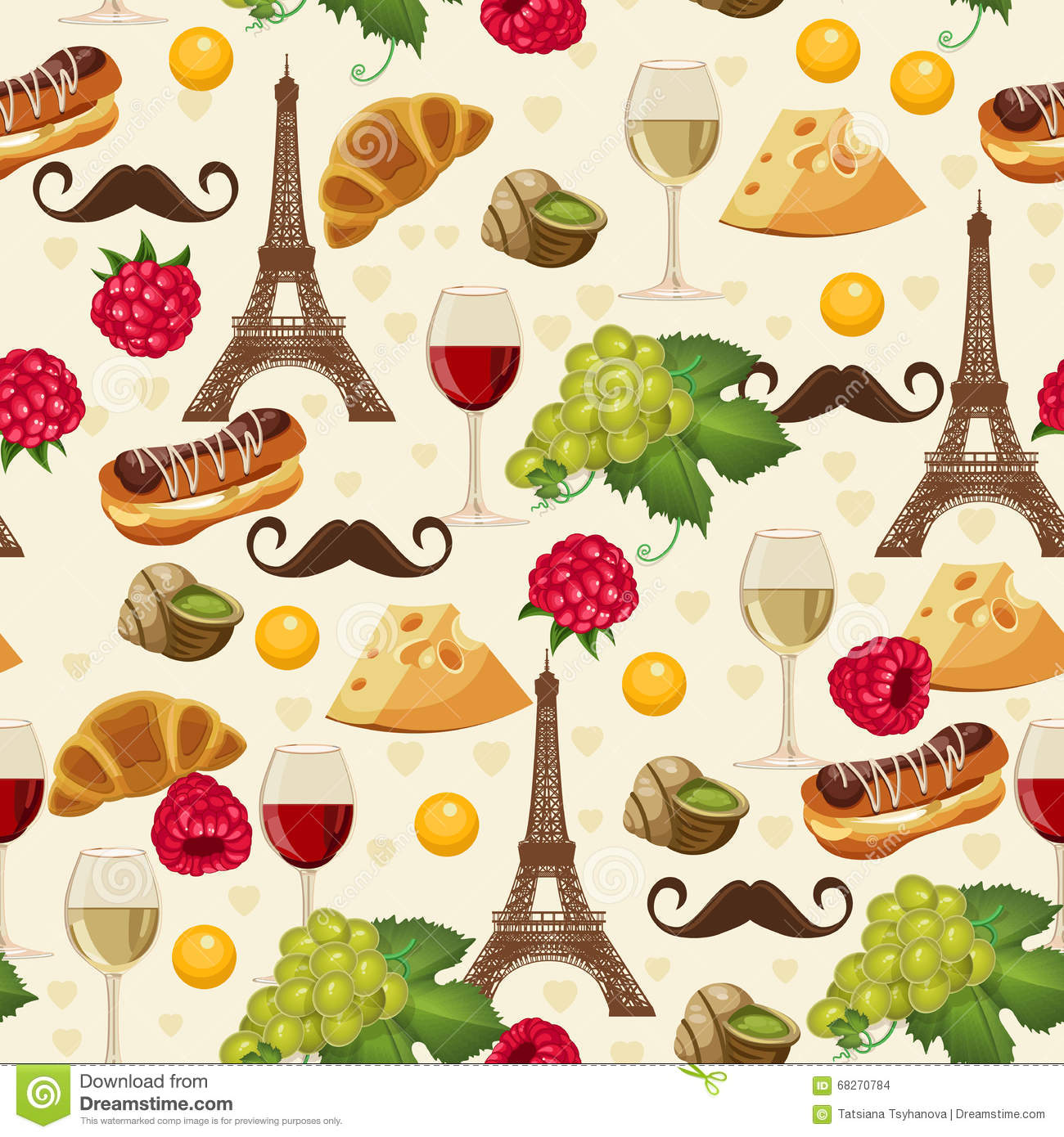 seamless retro pattern in french style with food and wine