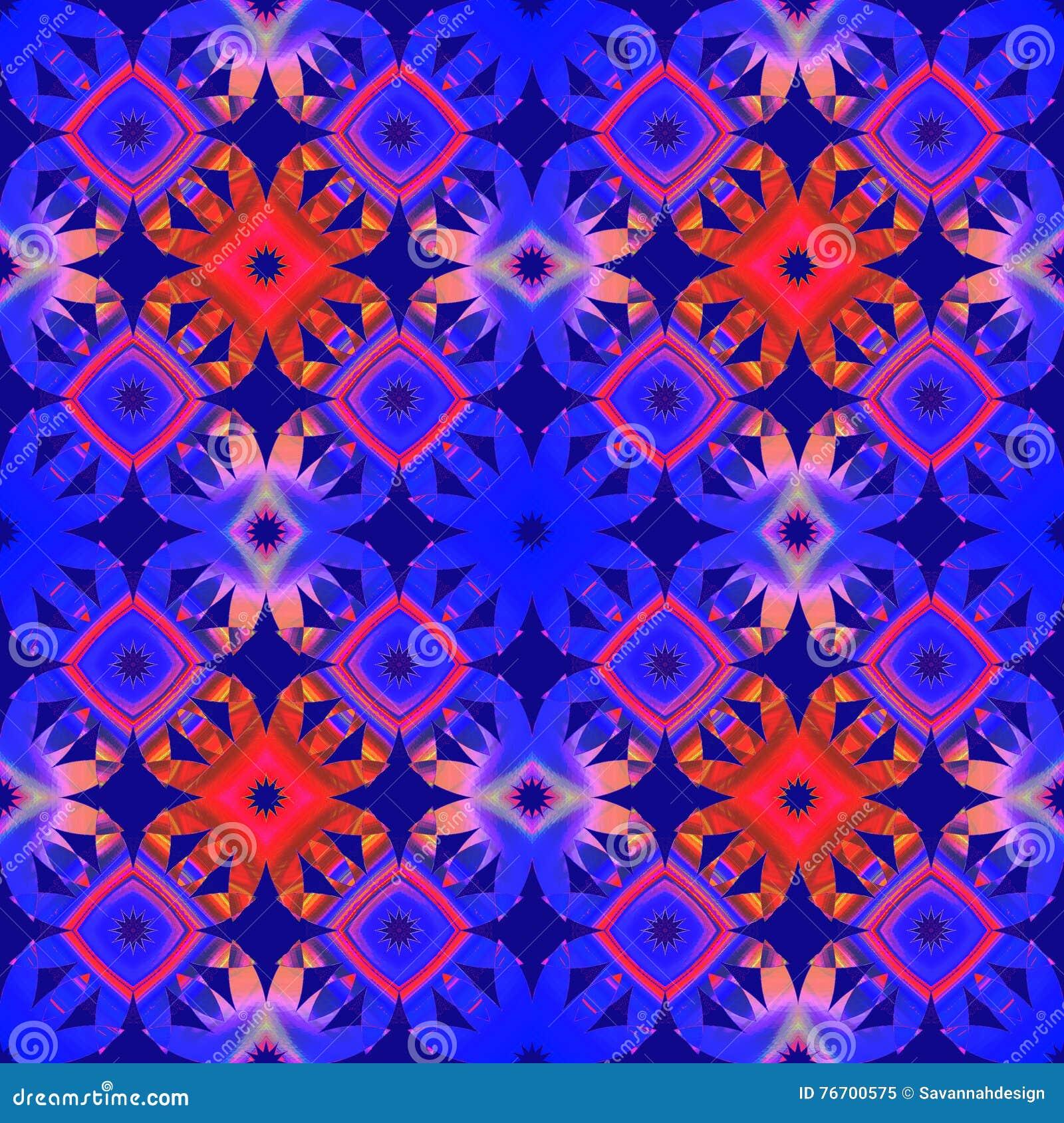 Seamless retro pattern orange blue