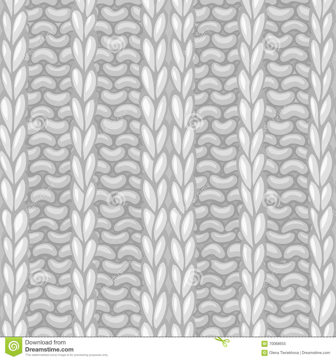 Knitting Stitches Vector : Seamless Ribbing Stitch Pattern. Stock Vector - Image: 70068655