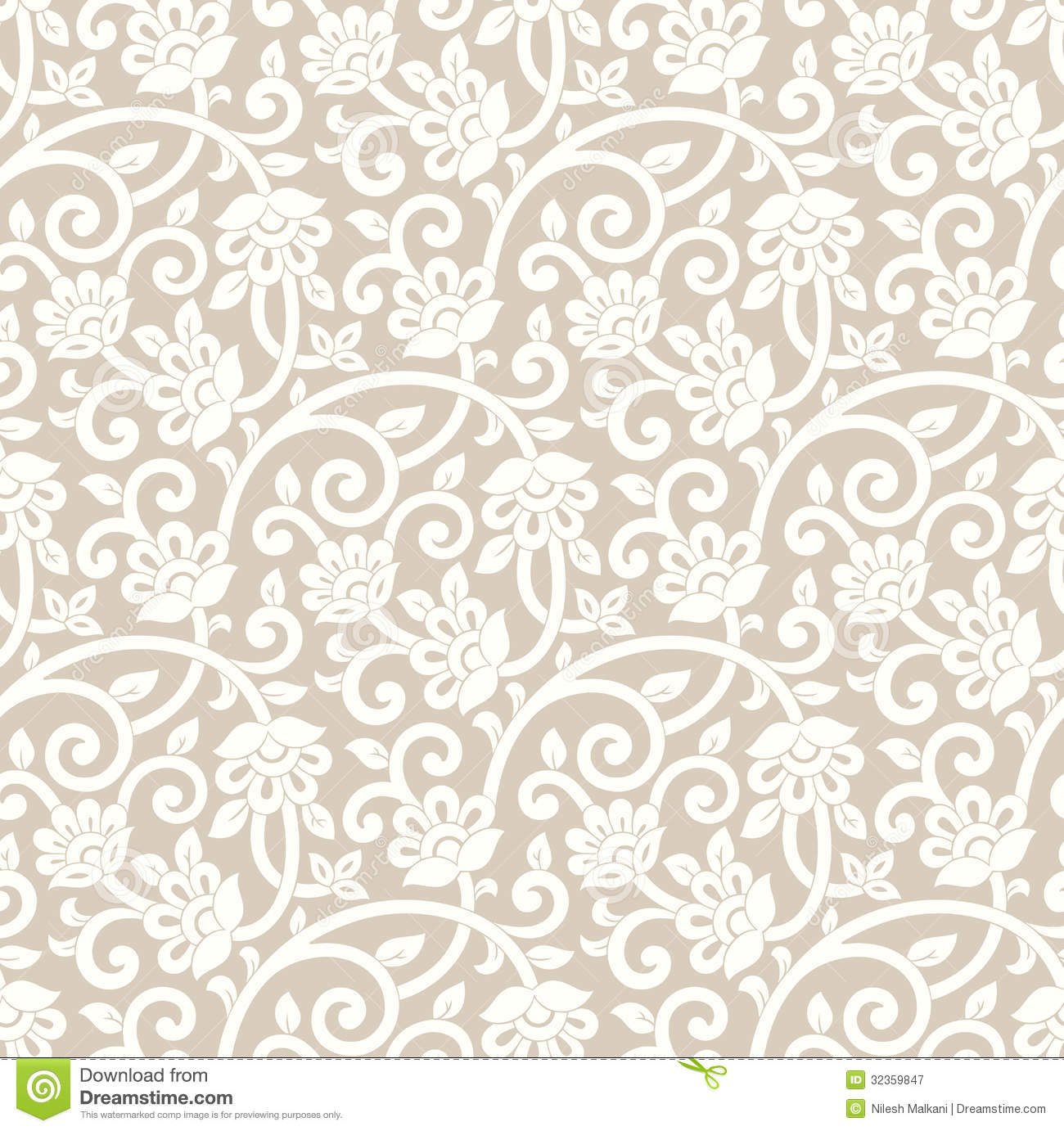 Seamless Rich Floral Wallpaper Stock Vector Image 32359847