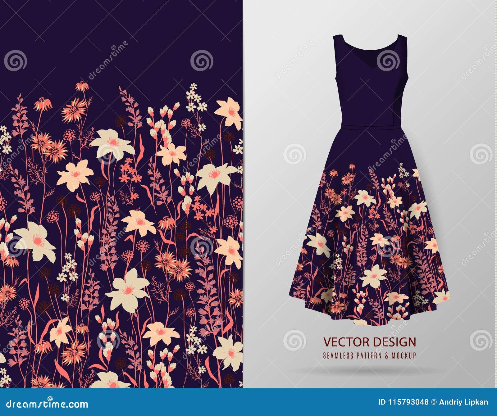 Seamless rim. Border with Herbs and wild flowers, leaves. Botanical Illustration Colorful illustration on dress mockup.