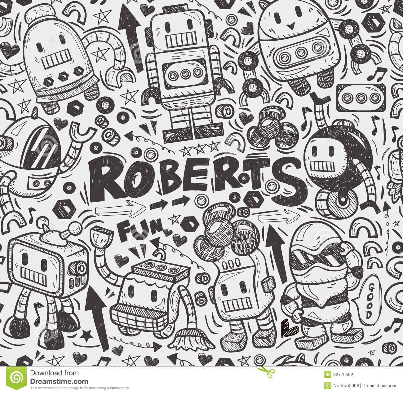 Drawing Lines With Illustrator : Seamless robot pattern stock vector illustration of