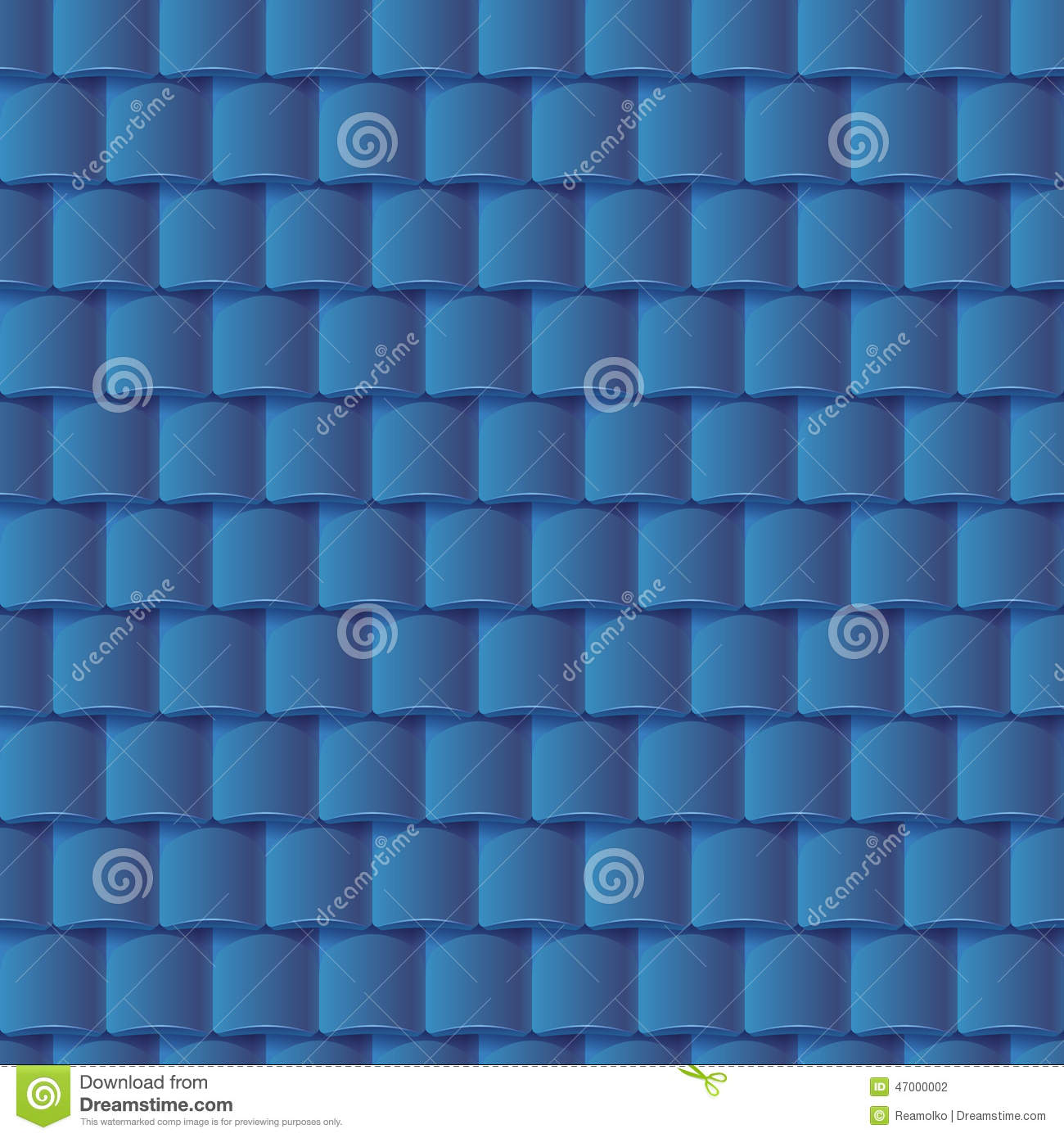 Seamless Roof Tiles Pattern Blue Texture Stock Vector