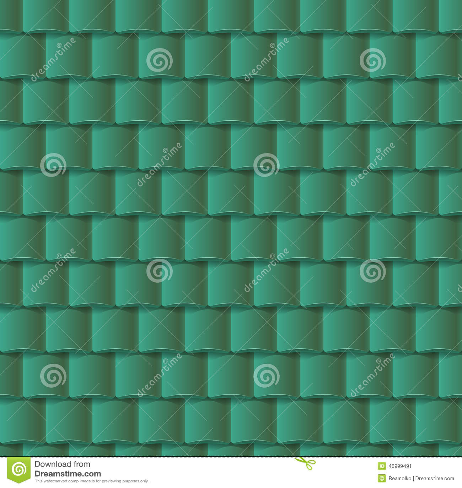 Seamless Roof Tiles Pattern Green Texture Stock Vector