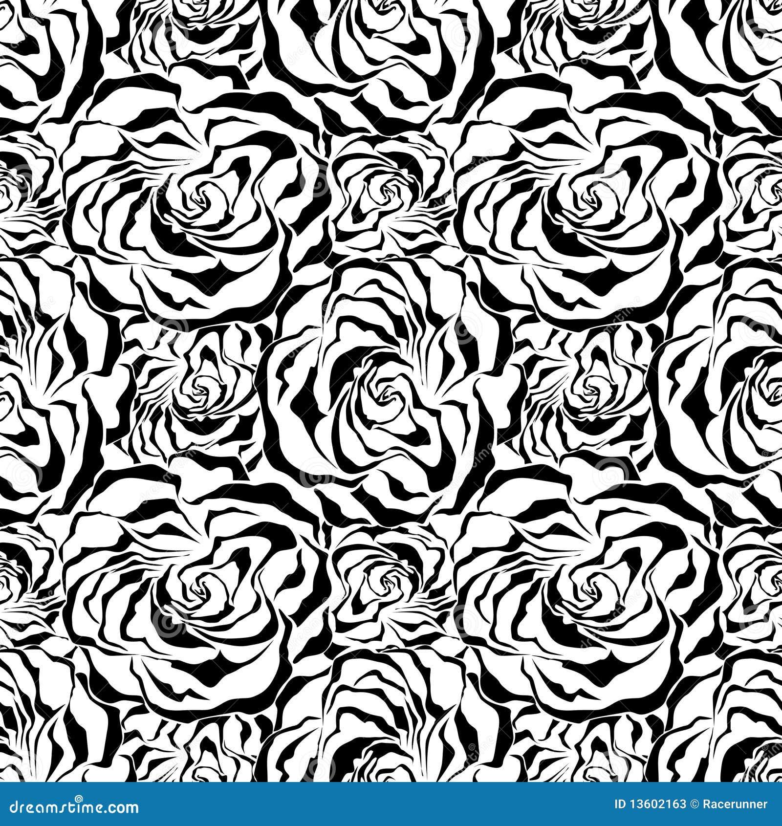 Seamless Rose Background Black Vector Illustratio Stock