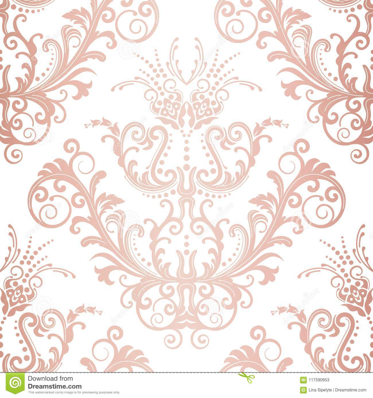 Seamless Rose Gold Floral Vintage Wallpaper Stock Vector