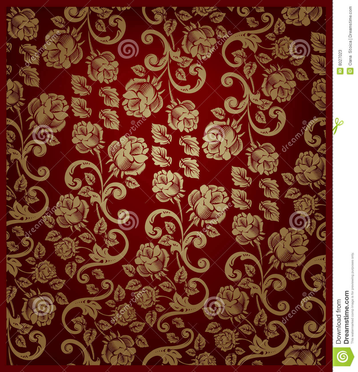 Seamless Rose Pattern Gold And Red Stock Illustration