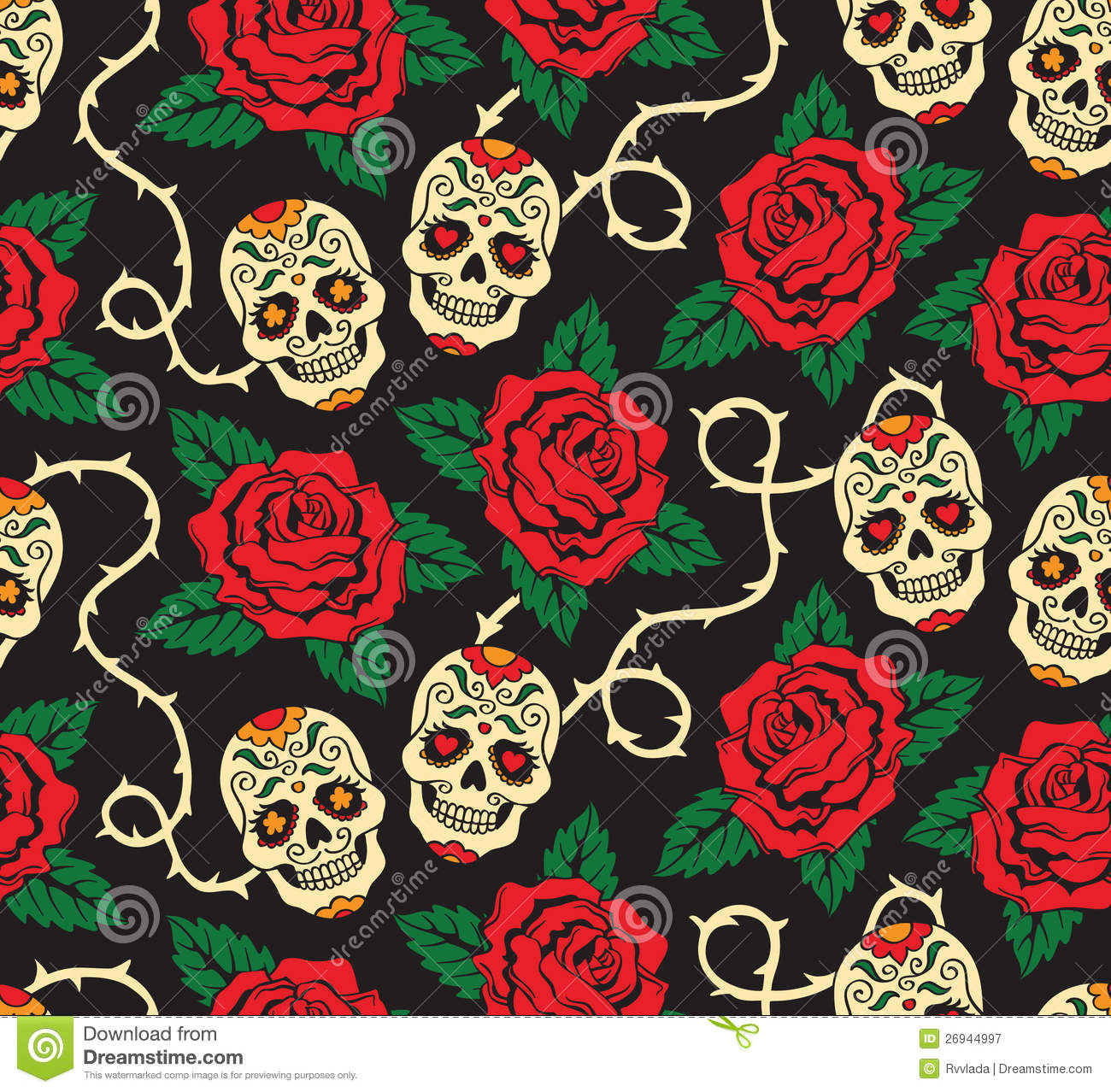 Seamless With Roses And Skulls Stock Vector Illustration Of Rose