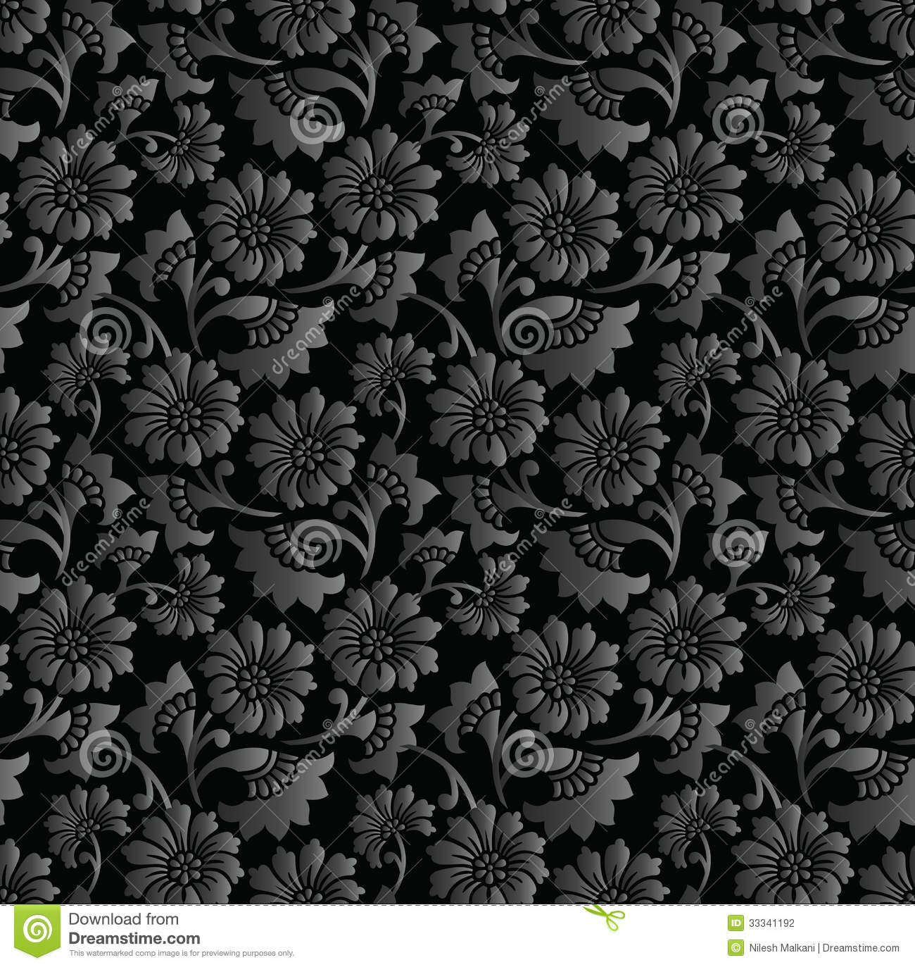 Seamless Royal Black Floral Wallpaper Stock Vector Illustration