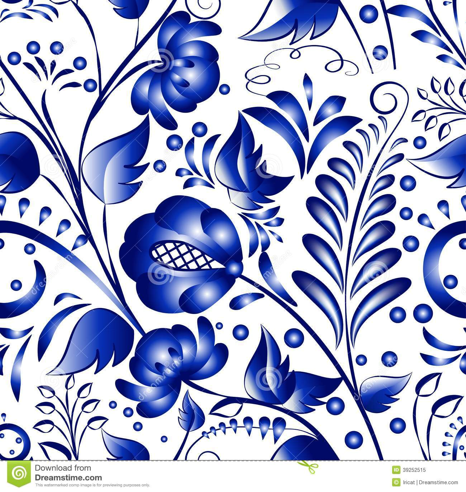 Seamless Russian Gzhel Patterns On A White Background ...
