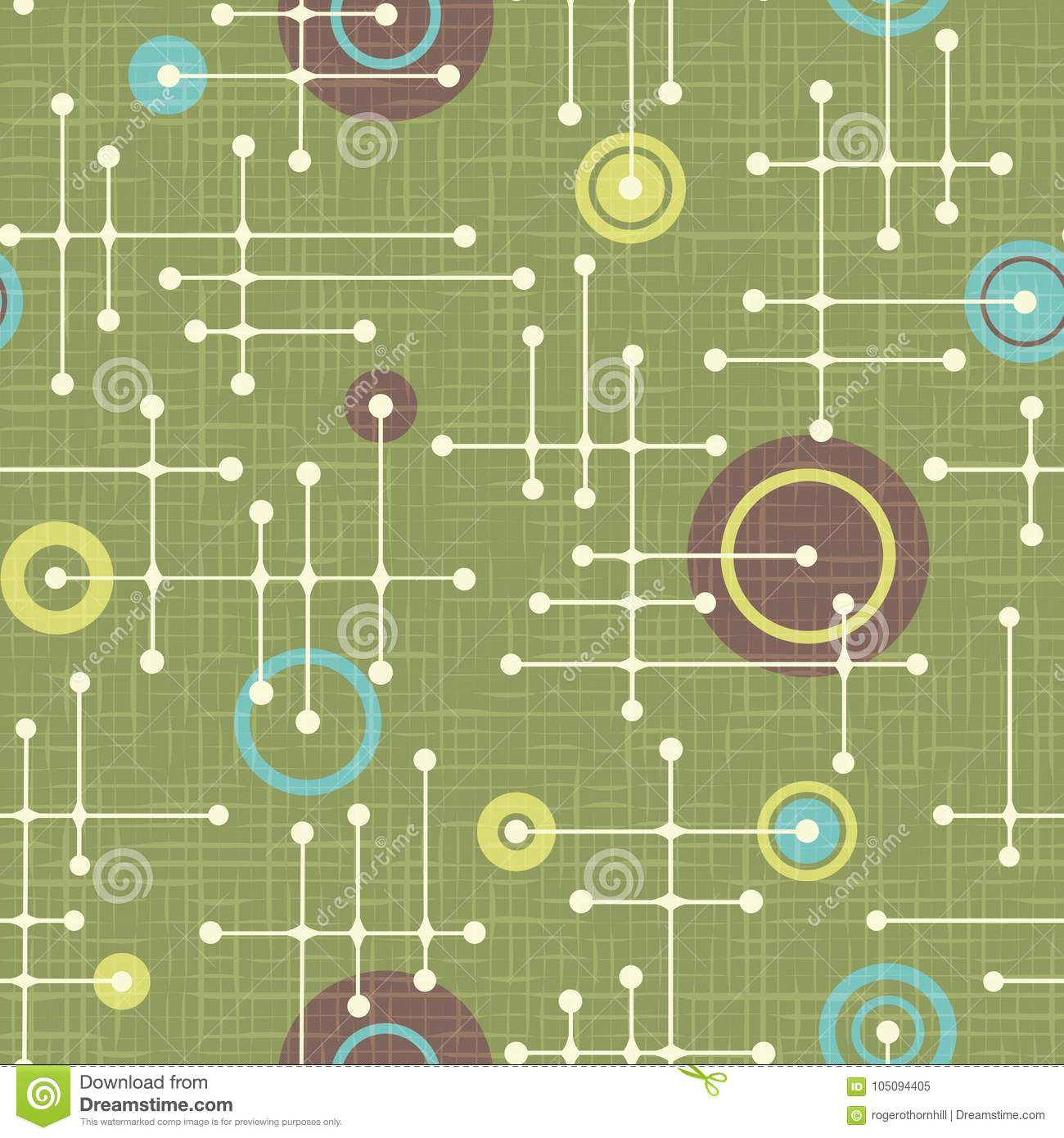 Seamless 1950s retro pattern of lines and circles