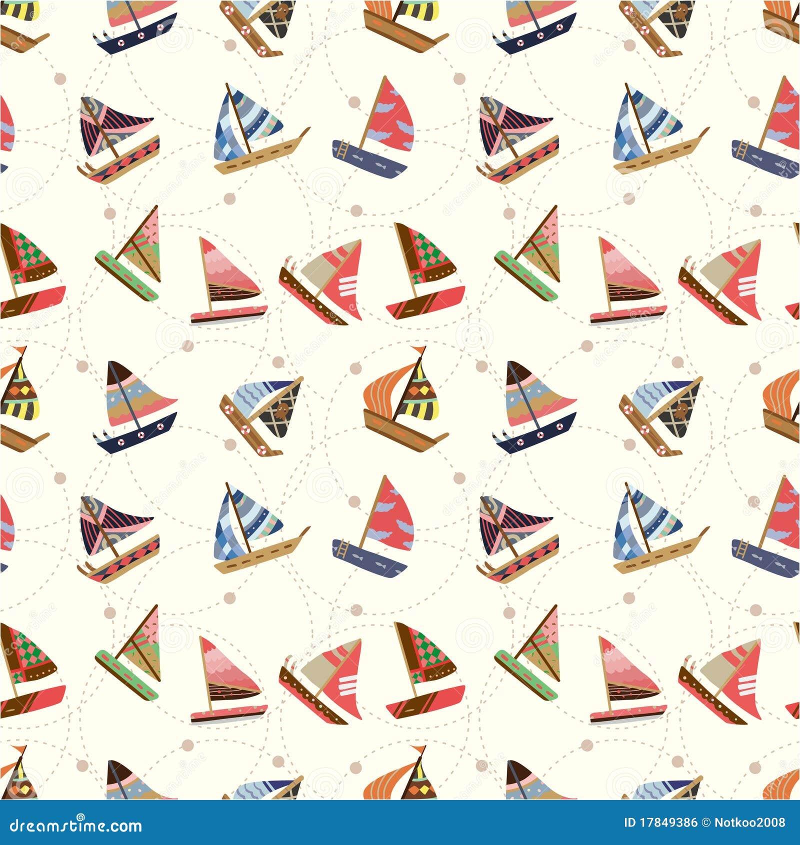 Seamless Sailboat Pattern Royalty Free Stock Image