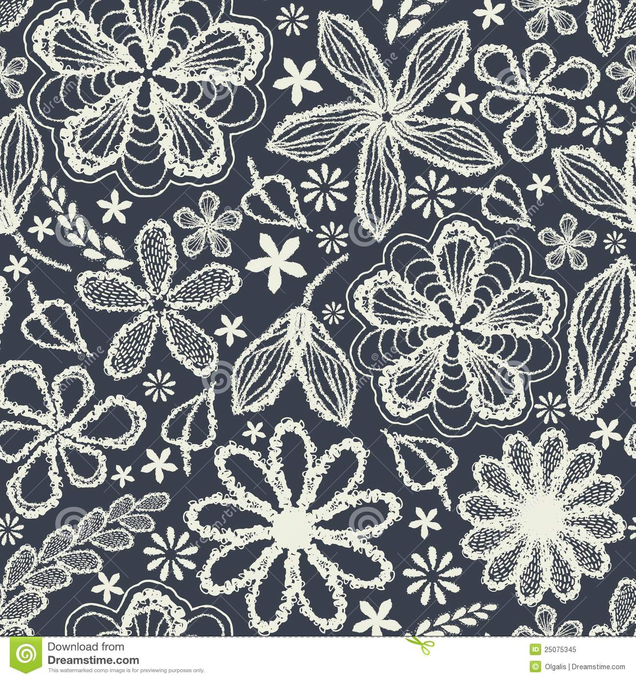 seamless shabby floral hand-drawn curly pattern stock illustration