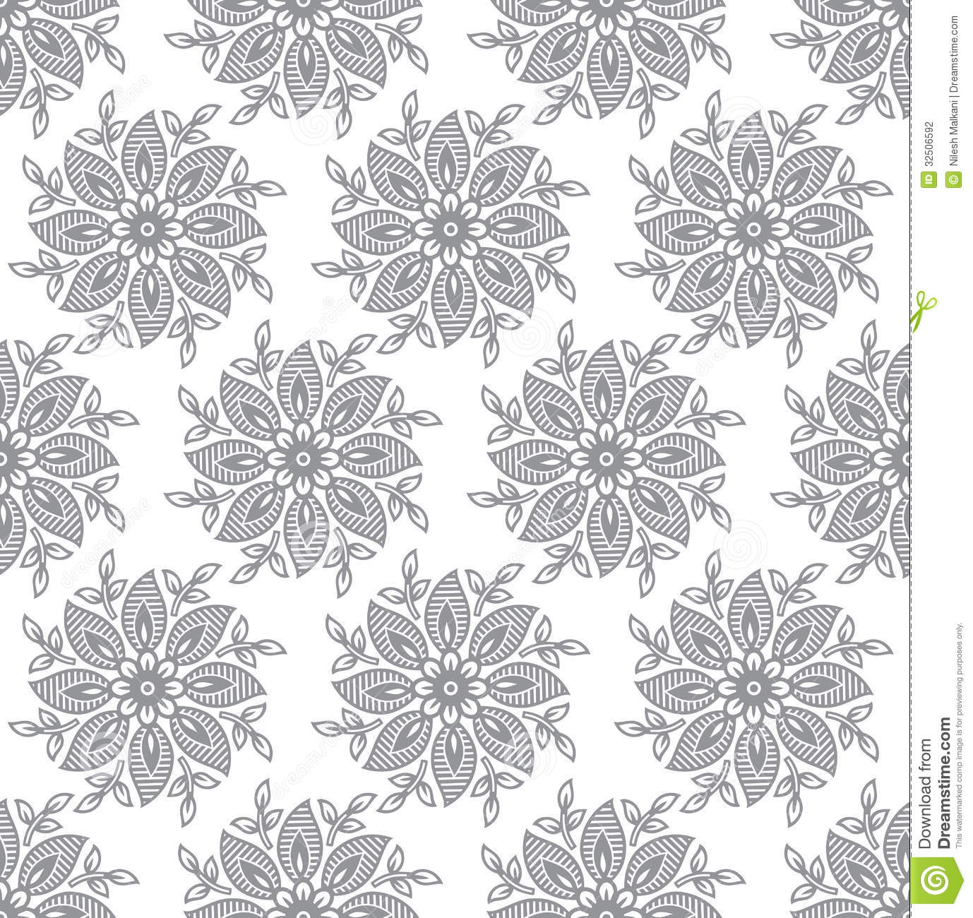 Seamless Silver Fancy Leaves Wallpaper Stock Vector
